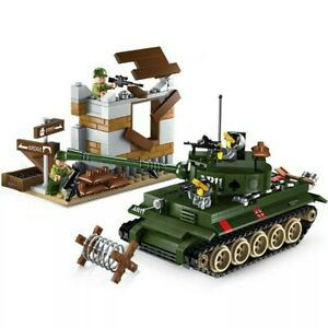 Lego-ww2-Tank-Tigre-Soldier-Figurine-Soldat-us-Militaire-Char-jouet-military