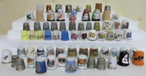 68 pc. Thimble Collection Thimbles Lot Limoges Denmark Porcelain Metal Plastic
