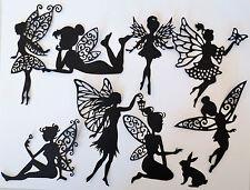 Fairies Fairy Intricate Paper Die Cut Embellishments scrapbooking 8 pc Black