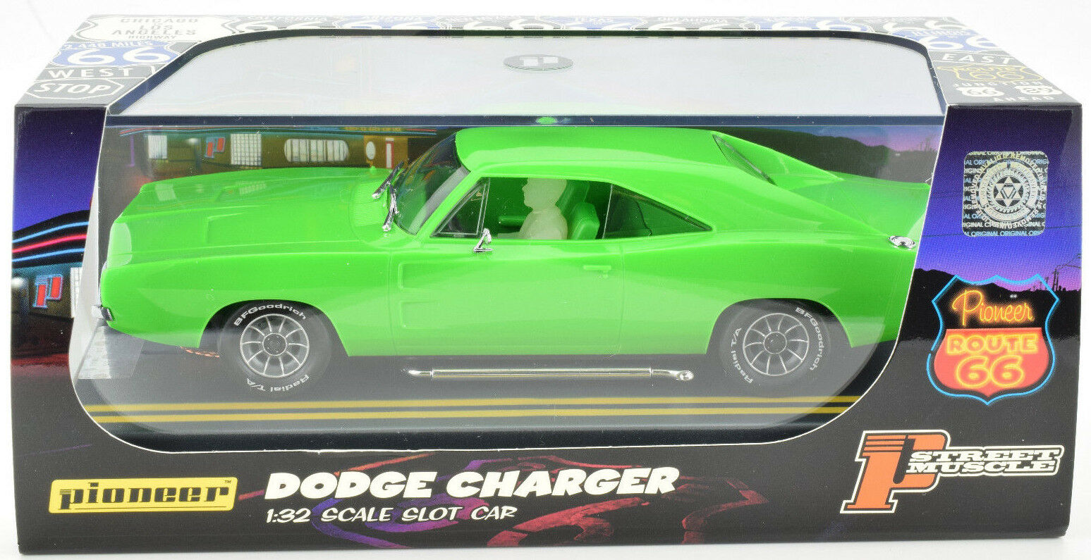 Pioneer 1969 Dodge Hemi Charger Lime Green J-Code Predotype 1 32 Scale Slot Car