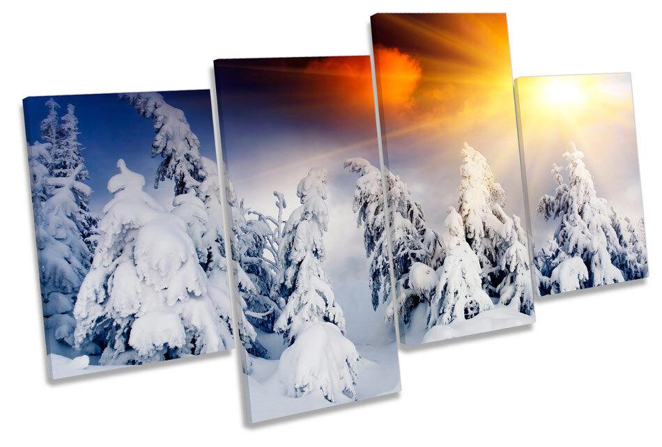 Sunset Winter Mountains Snow MULTI CANVAS WALL ART Print Print Print Picture 95e43b