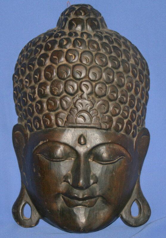 jahrgang Hindu Deity Mask Hand Carving Wood wand Decor
