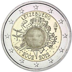 Luxemburg-2-Euro-10-Jahre-Euro-Bargeld-2012-Gedenkmuenze-bankfrisch