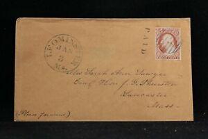 Massachusetts: Leominster 1850s #10 (4 Margin) Cover, Worcester Co