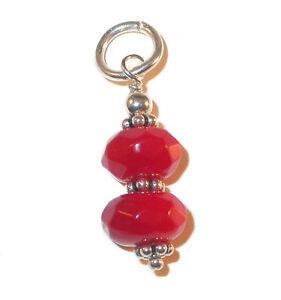Bali-925-Sterling-Silver-GEMSTONE-Beaded-Charm-Faceted-RED-CORAL