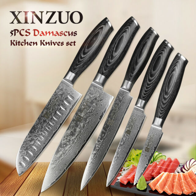XINZUO 5pcs Damascus kitchen knifeSet chef cleaver knife paring knife very  sharp