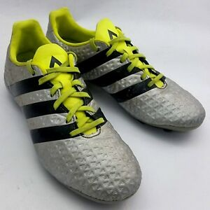 sale retailer 819fa 9dc38 Details about Adidas Youth Ace 16.4 FxG Soccer Shoes Cleats Sz 5  Silver/Metallic/Volt S42142