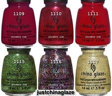 China Glaze HOLIDAY JOY Collection 6 Colors Nail Polish FULL SIZE 1109-1117