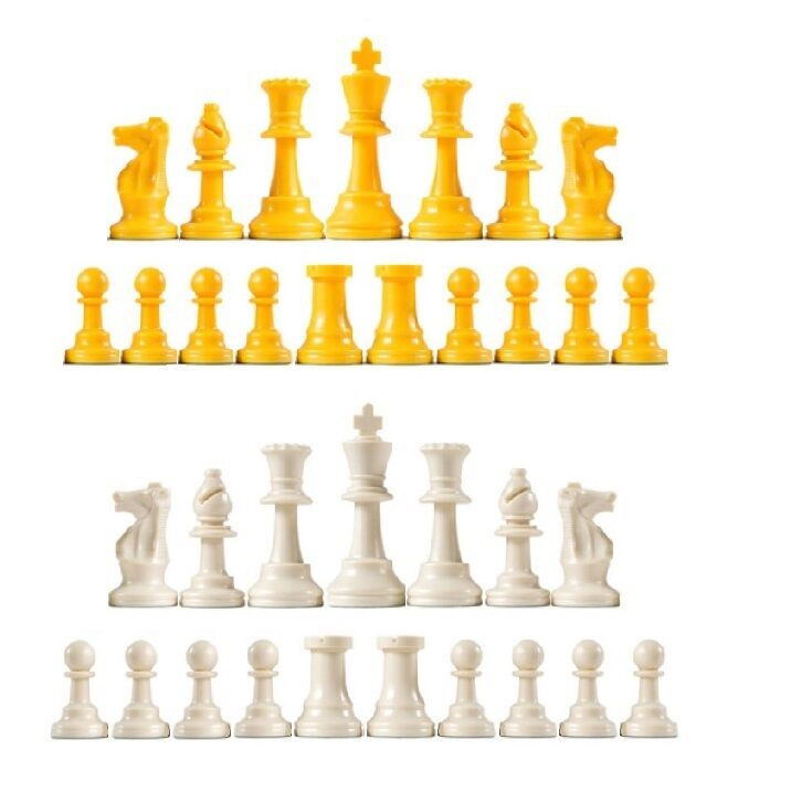 Staunton Triple Triple Triple Weighted Chess Pieces - Full Set 34 Yellow & White - 4 Queens fdfde0
