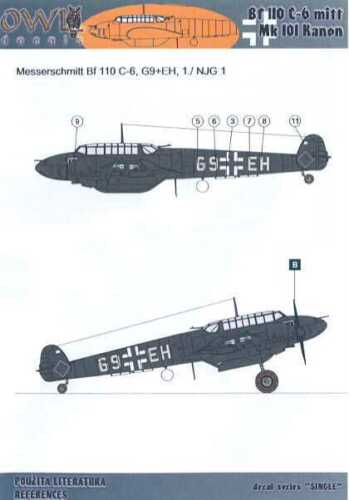 Owl Decals 1//72 MESSERSCHMITT Bf-110C-6 with Mk-101 Cannon