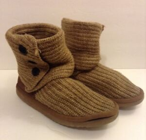 Image is loading UGG-Australia-Classic-Cardigan-Knit-Boots-Camel-Brown-