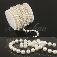33/66ft 8mm Ivory Pearl Bead Garland Spool Rope Wedding Party Home Bridal Decor