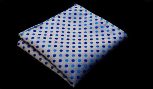 US067 Men Blue Polka Dot Neck Tie Necktie Pocket Square Handkerchief Set Lot