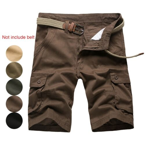 Men Cargo Shorts Casual Short Pants Army Multi Pockets Half Trousers Solid Color