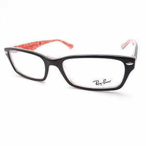 6270969fc4370 AUTHENTIC Ray Ban 5206 2479 54 Black on Red Text Eyeglass Frame New ...