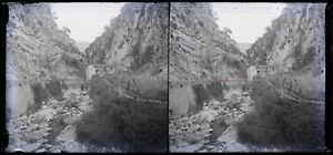 Montagne Creek c1930 Foto Negativo Placca Da Lente Vintage VR16L9n7