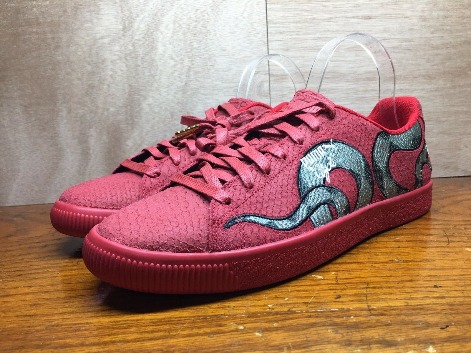 Puma Men's Clyde Snake Embroidered Red Size 9.5