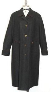 BOILED-WOOL-Over-Coat-BLACK-Trench-Long-Women-AUSTRIA-Warm-WINTER-48-20-XL-B51-034