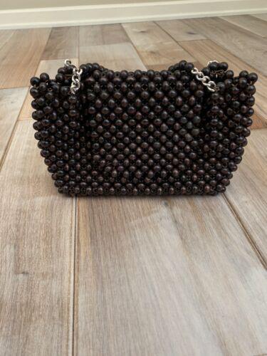 Vintage Wood Beaded Flap Purse Handbag Brown Bag 5