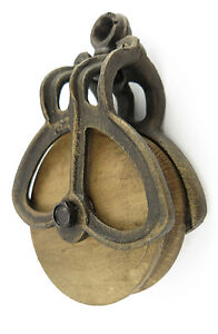 Bloque-y-trastos-Hierro-fundido-Papel-madera-estilo-antiguo-Rodillo-de-deviacion