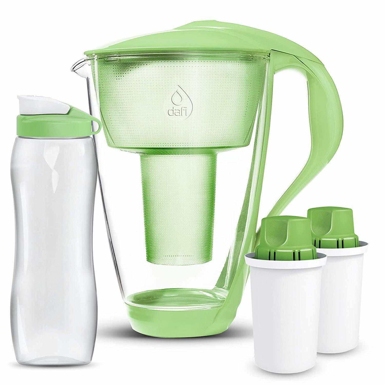 DAFI Alkaline UP cristal Ph eau pichet + 2 PH Filtres + bouteille d'eau-Vert