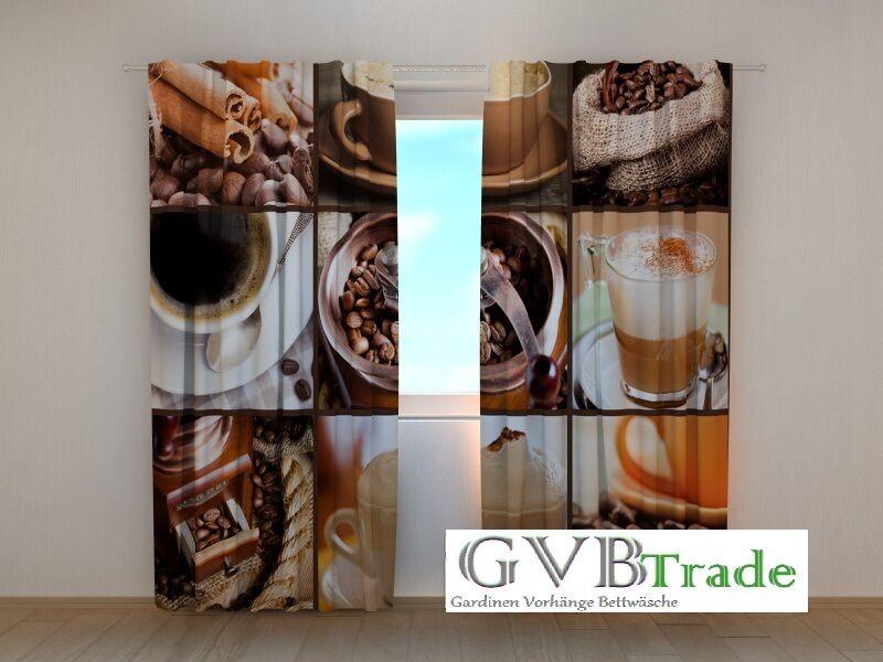 Fotogardinen  Kaffee  Fotovorhang Vorhang Gardinen Motiv 3D Qualität auf Maß  | Attraktiv Und Langlebig