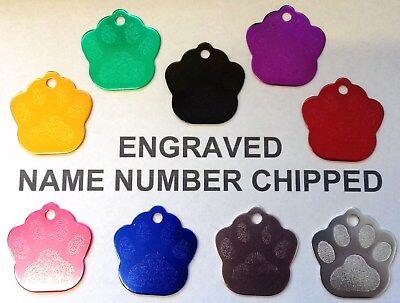 Bello Luxury Paw Print Incisa Cane Pet Id Tag-tutti I Colori Disponibili Telefono Nome Cat-mostra Il Titolo Originale
