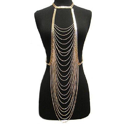 Sexy Crossover Bikini Beach Harness Necklace Waist Belt Belly Body Chain Jewelry