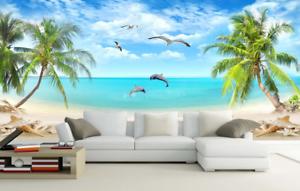 Papel Pintado Mural Vellón Árboles De Playa De Conchas 2 Paisaje Fondo Pansize