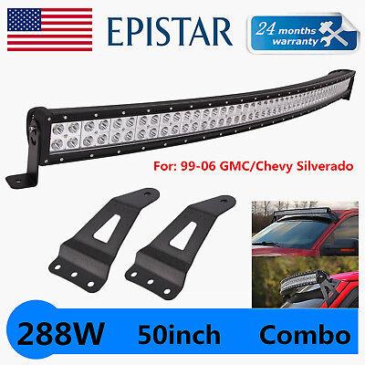 50Inch 288W Curved LED Light Bar+99-06 Chevy Silverado//GMC Sierra Mount Brackets