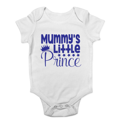 Mummy/'s Little Prince Cute Blue Boys Baby Vest Bodysuit Baby Grow