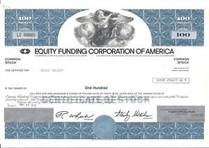 Equity Funding Corporation D'Amérique 1973 Commune Stock Certificat eVdRkC6w-09093430-955722005