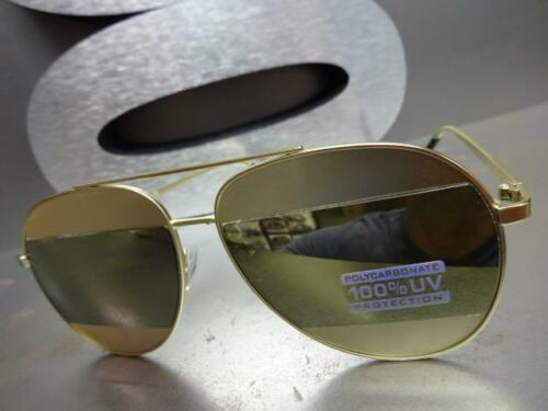 CLASSIC VINTAGE 70/'s RETRO Style SUN GLASSES SHADES Matte Gold Frame Mirror Lens