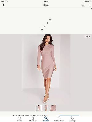 Missguided Premium Bandage/bodycon Dress Size8 Mauve/pink/ Nude