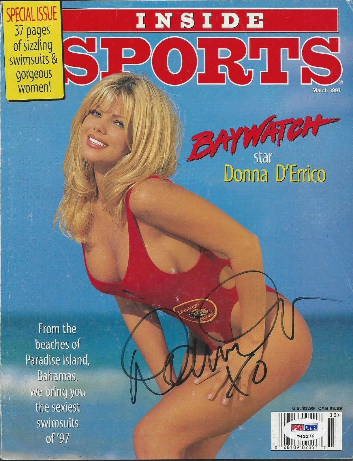 Donna D' Errico Signed Inside Sports Magazine PSA/DNA# P42276