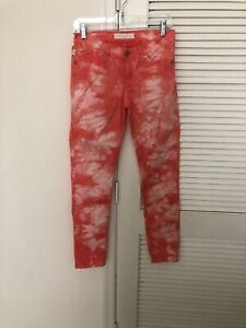 Rock-And-Republic-Women-039-s-Jeans-Size-4-Berlin-Skinny-Orange-And-White