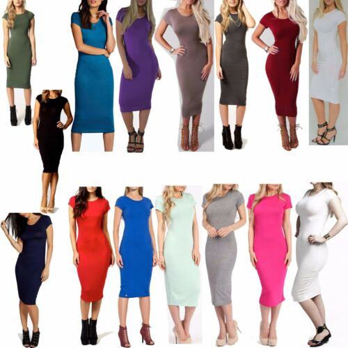 Women Ladies Plain Jersey Stretch Crew Neck Bodycon Cap Sleeve Midi Dress 6-26