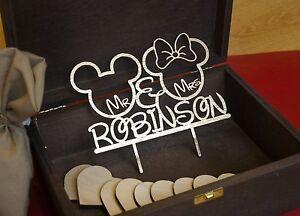 Disney Wedding Mickey Minnie Rustic Wedding Cake Topper Wedding