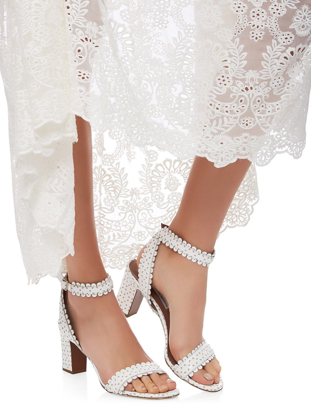 695 NEW Tabitha Simmons LETICIA LETICIA LETICIA blanc Perforat Leather Eyelet Sandals chaussures 40 1e85c3