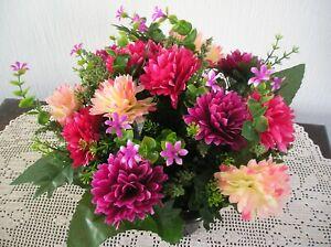 Quality Artificial Silk Flower Arrangement In A Grave Memorial