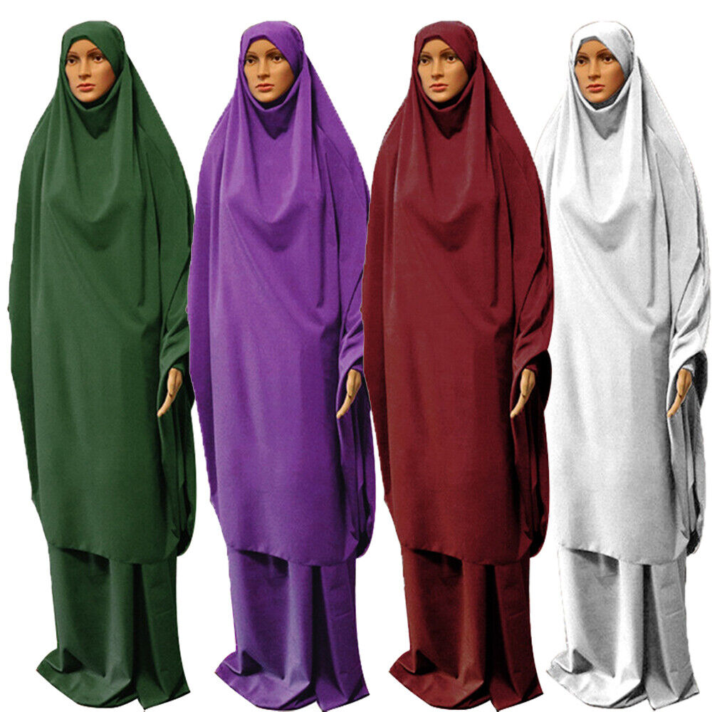 Khimar Overhead Hijab Abaya Dress Two Piece Prayer Set Skirt Jilbab Arab Islamic