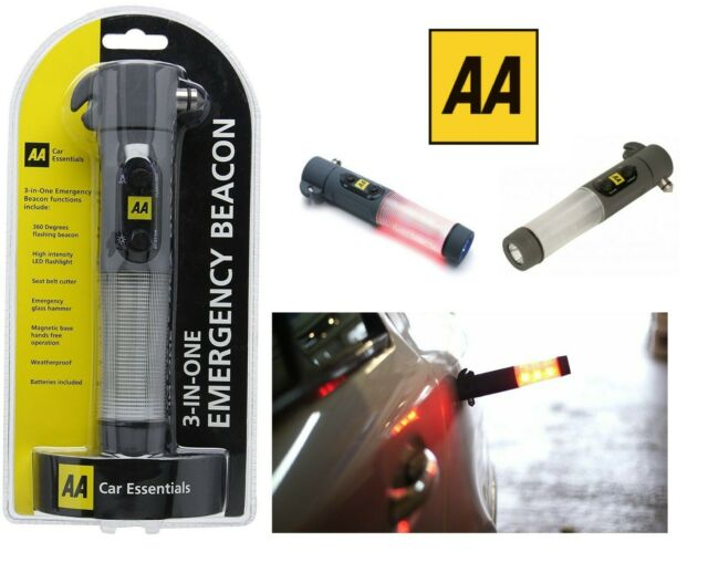 AA Car Travel Emergency Belt Cutter Torch Hammer LED Flash Light Beacon