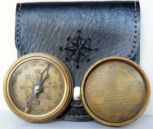 Antique Brass Maritime Queen Victorian Compass w Black Leather Case Great Gift