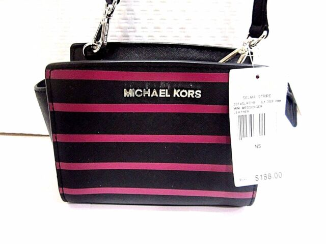 2ccb339a40ff Michael Kors Mini Selma Stripe Black Deep Pink Leather Messenger Handbag