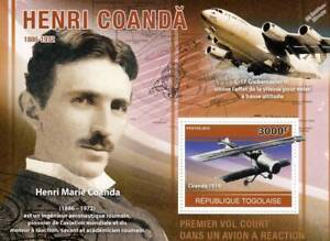 Henri-Coanda-1910-Coand-034-JET-034-Biplan-Avion-Timbre-Feuille-2010-Togo