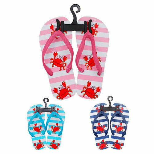 Stripes And Crabs Flip Flops Sandals Pool Shoes Sizes 6.5-2.5 UK NEW FREE POST