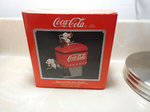 Enesco Coca-Cola Have a Coke and a Smile w/mice Christmas Ornament 1990 w/box