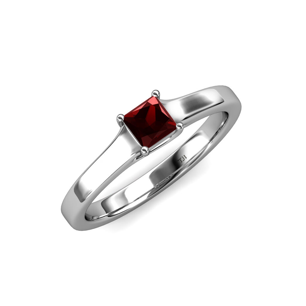 Red Garnet Princess Cut Solitaire Engagement Ring 0.60 ct in 14K gold JP 81705
