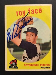 Elroy-Roy-Face-Pirates-Signed-1959-Topps-Baseball-Card-339-Auto-Autograph