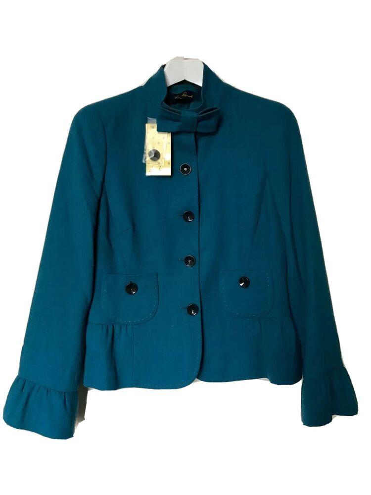 Nouveau Designer Luisa Spagnoli Manteau/veste Turquoise Taille It44/uk 12-rrp £ 379